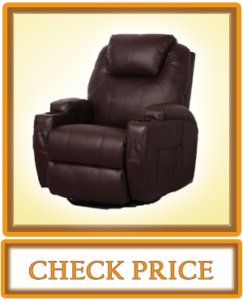 Esright Massage Recliner Chair Heated PU Leather Ergonomic Lounge 360 Degree Swivel Brown